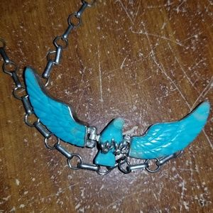 Hand carved sterling silver turquoise Eagle neckla